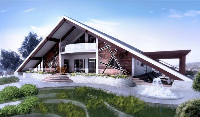 Immeuble résidentiel - une hutte avec un toit à pignon