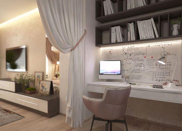 salon avec bureau