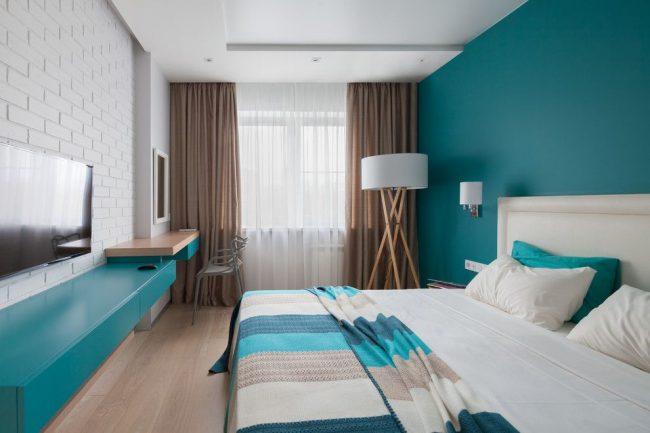 Intérieur de chambre à coucher de style plage