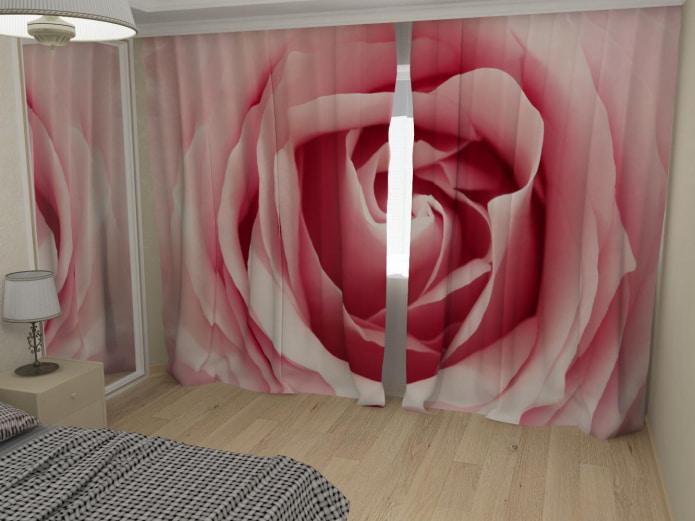 rideaux photo avec une rose
