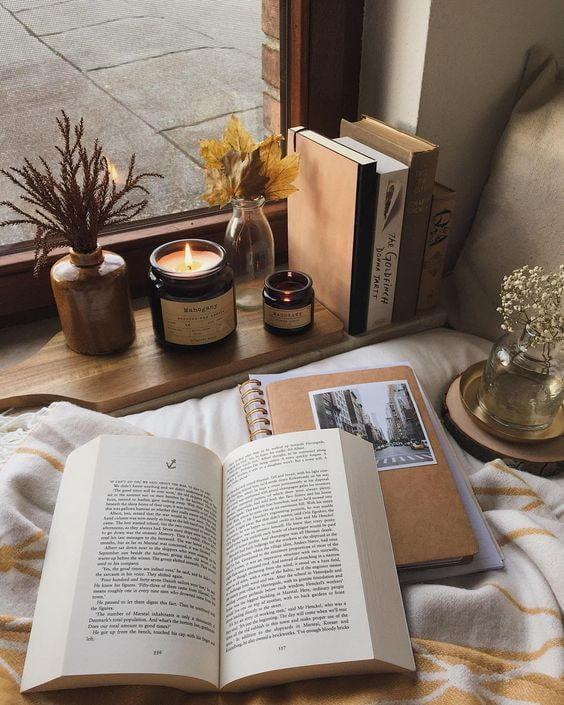 Sur le rebord de la fenêtre avec des livres