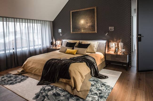 Intérieur de chambre à coucher moderne avec peinture