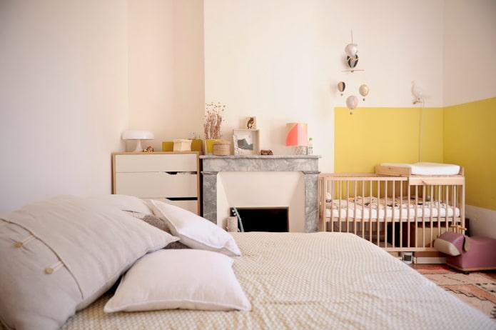 disposition des meubles à l'intérieur de la chambre-crèche
