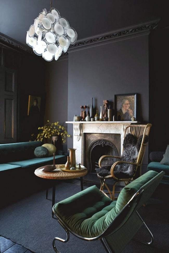 Un sol sombre assorti à la couleur générale de la pièce est une combinaison plutôt rare qui ne convient qu'à certains