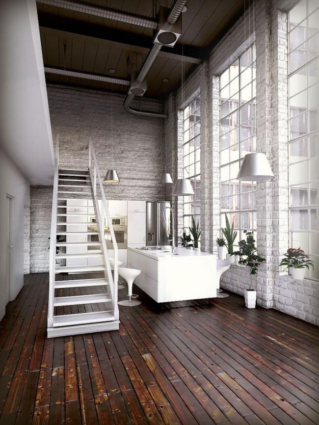 Parquet marron style loft
