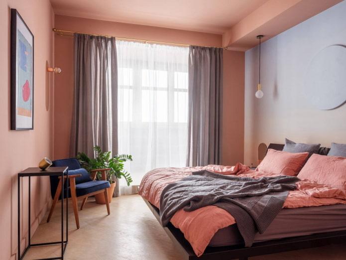 Chambre carrée de style rétro