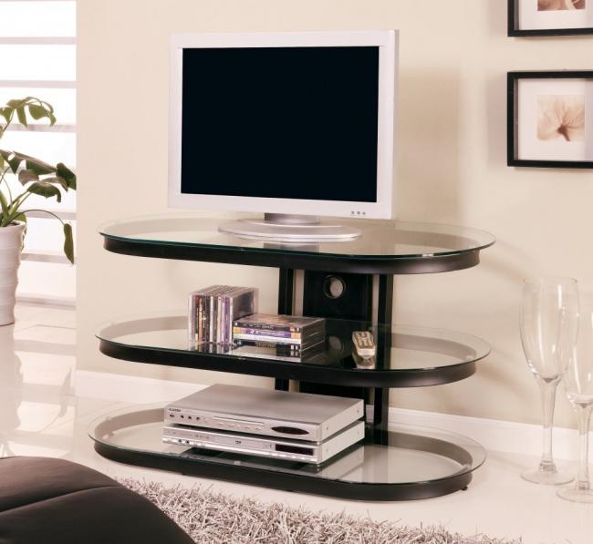 Meuble TV original en verre et métal