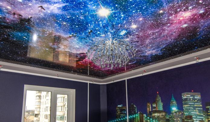 plafond avec l'image de l'espace