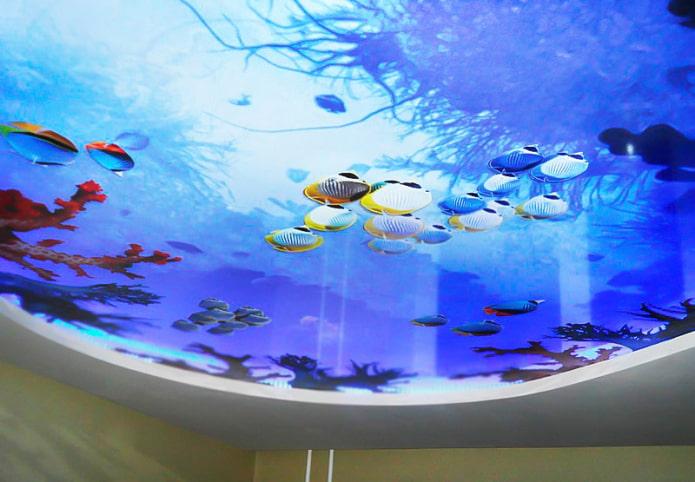 plafond avec impression photo 3D imitant un aquarium