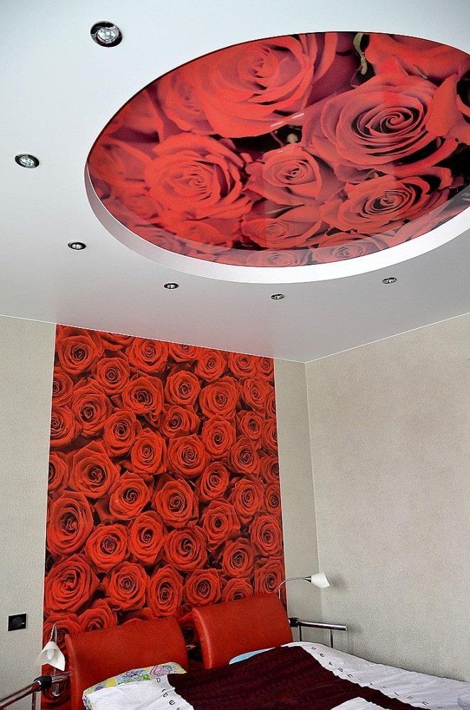 plafond avec une photo de roses dans la chambre