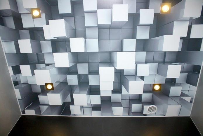 plafond avec l'image de cubes volumétriques