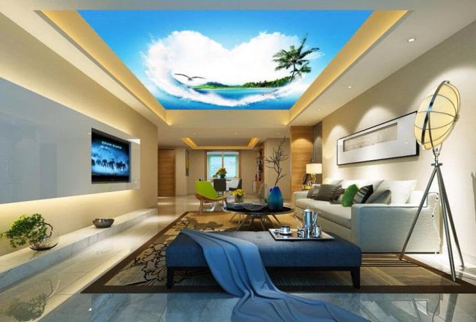 plafond représentant la plage dans le salon