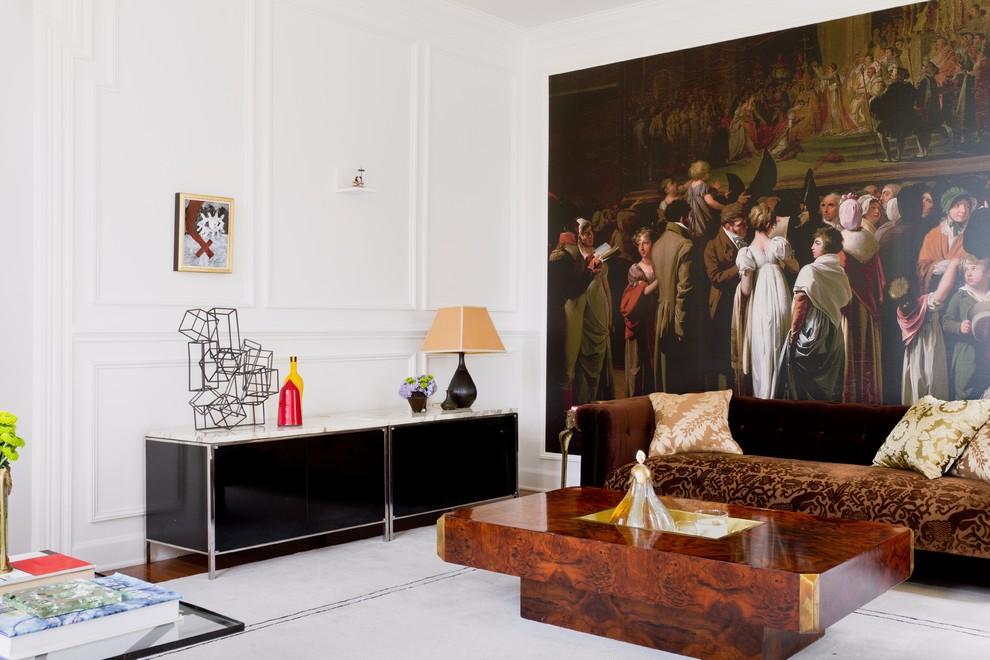 Papier peint photo avec un motif médiéval à l'intérieur du salon