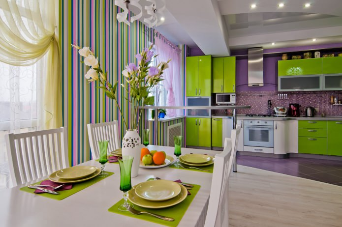 cuisine lilas-citron vert