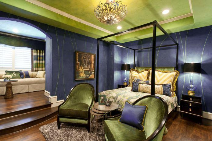 Chambre vert clair et violet