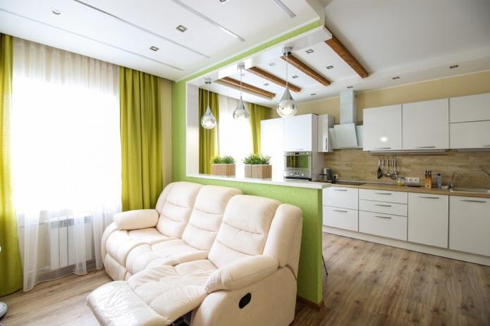 combinaison de tons vert clair et beige