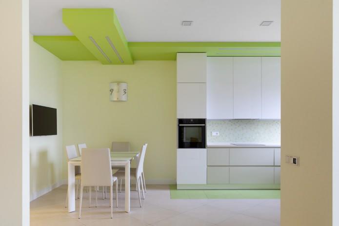finition de la cuisine dans des tons vert clair