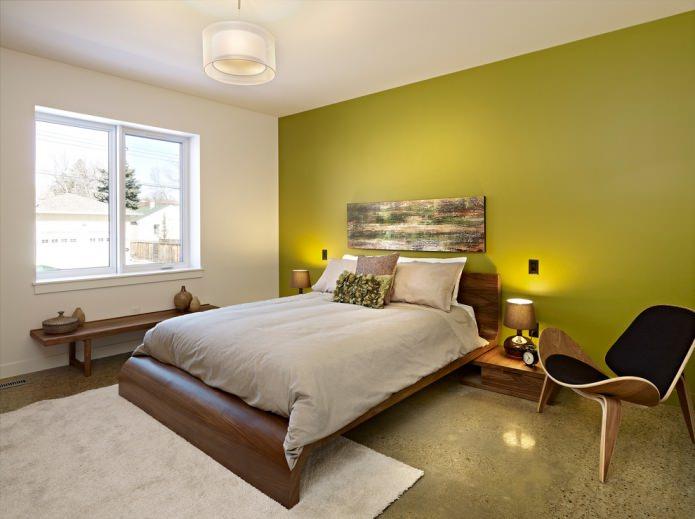 mur vert clair dans la chambre