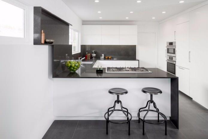 cuisine noire et blanche en forme de U