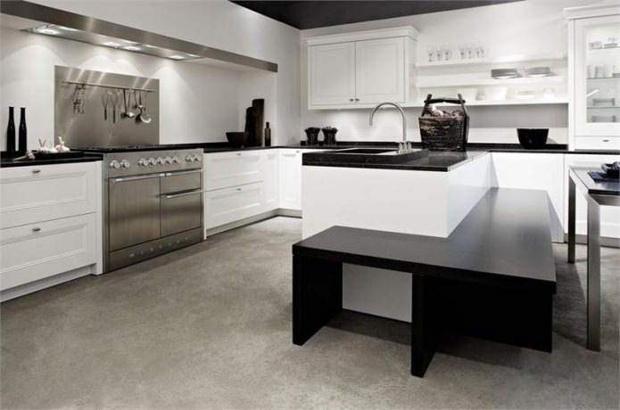 cuisine noire et blanche dans un style moderne