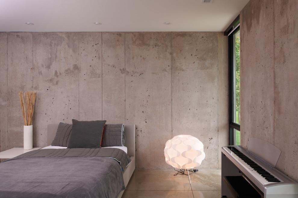Le papier peint effet béton maintient parfaitement une ambiance lumineuse et lumineuse dans une chambre spacieuse