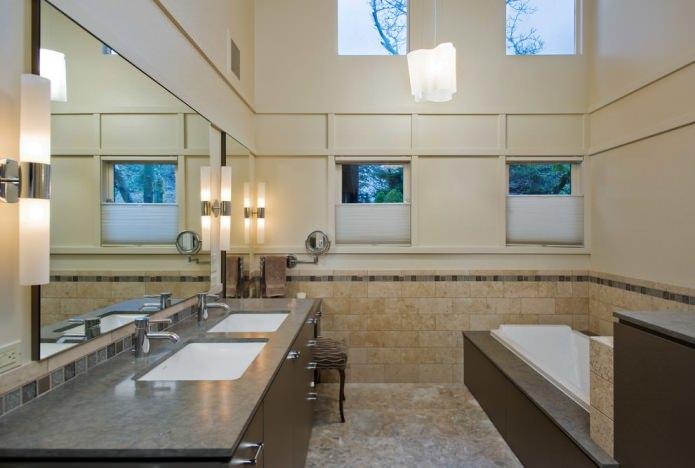 couleur beige dans la salle de bain
