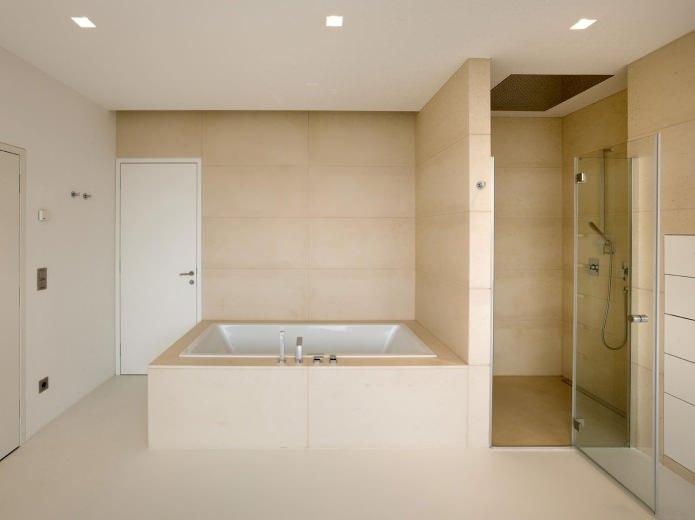 Conception de salle de bain beige