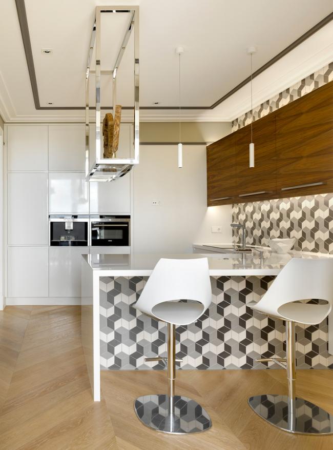 Carrelage avec effet 3D à l'intérieur de la cuisine
