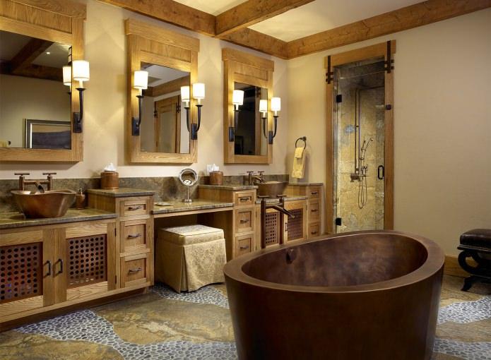 conception de salle de bain de style campagnard