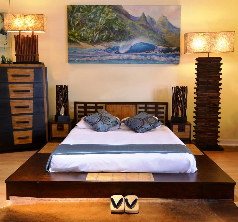 Un lit en bois réalisé dans un style oriental créera un petit