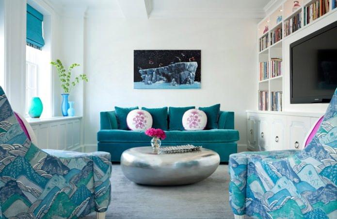 Intérieur de salon blanc et bleu
