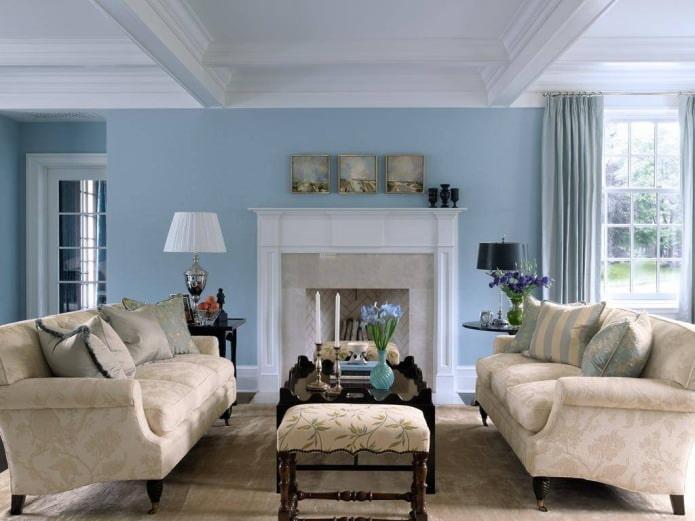 Intérieur de salon beige et bleu