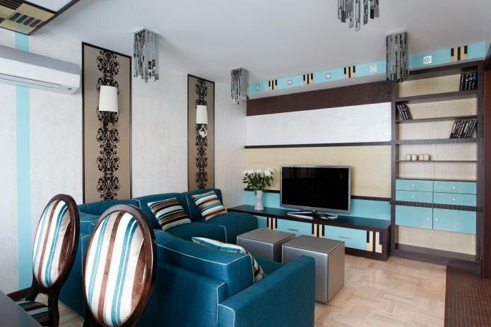 Intérieur de salon marron et bleu