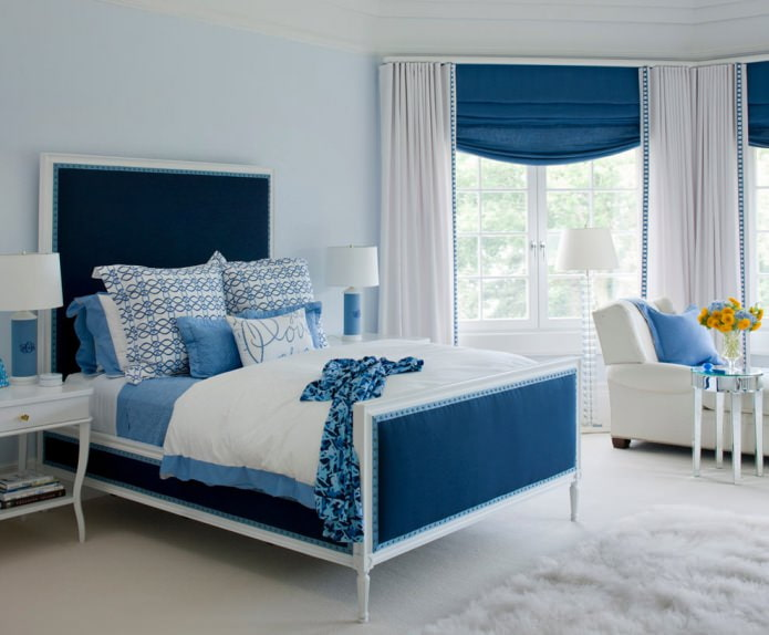Intérieur de chambre bleu-bleu