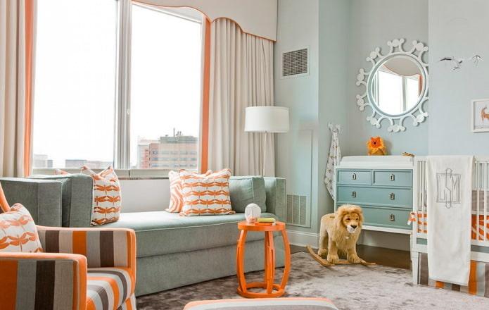 Intérieur orange et bleu de la pépinière dans un style moderne