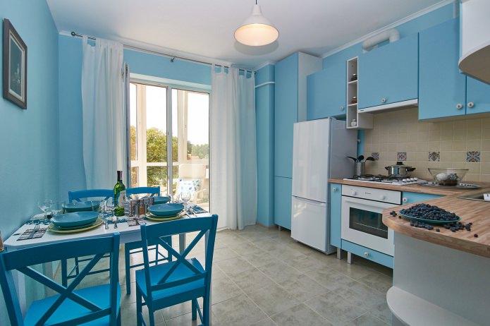 conception de cuisine bleue
