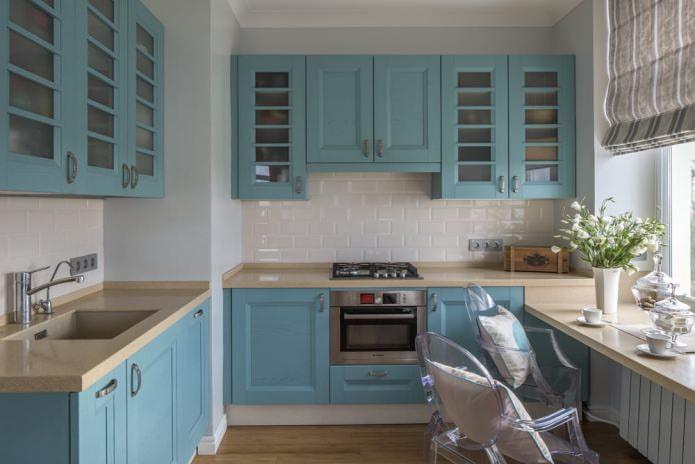 cuisine avec set bleu