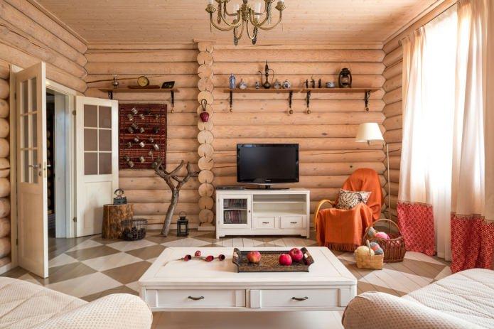 intérieur d'une maison en rondins