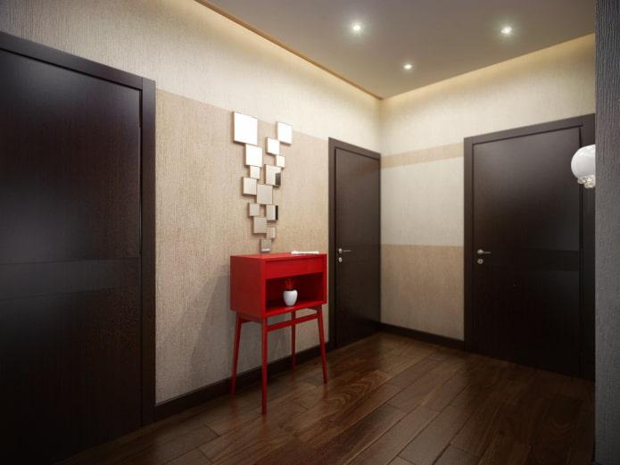portes de couleur wengé en combinaison avec le sol à l'intérieur