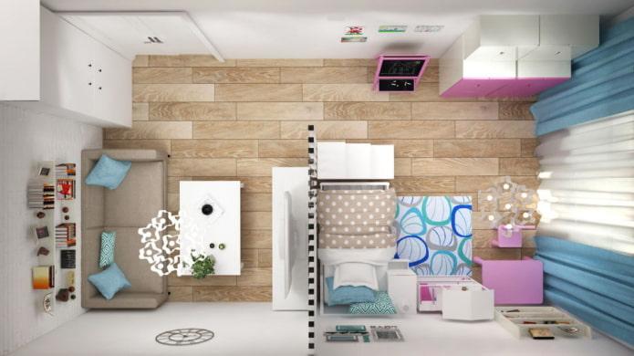 Salon avec chambre d'enfant