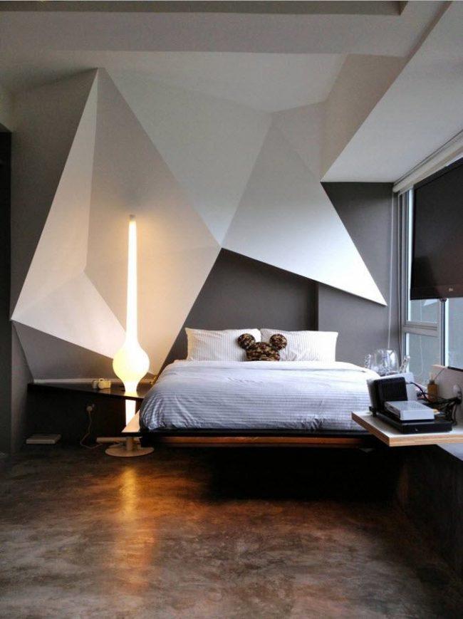 Décoration contrastée de la chambre dans un style moderne