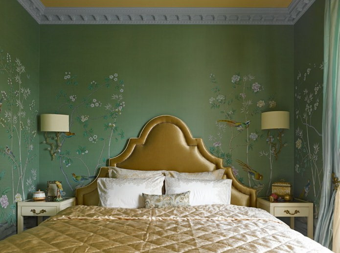 papier peint vert dans la chambre