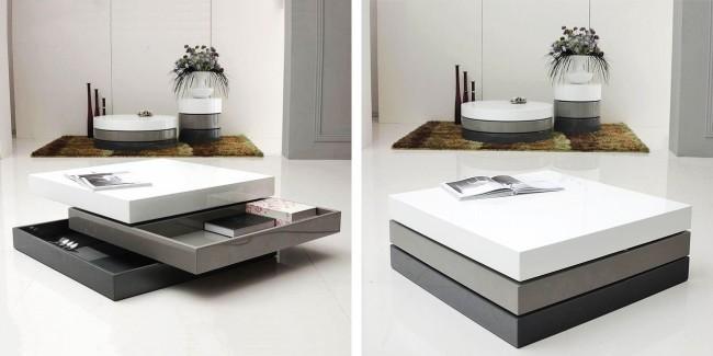 Table basse et table basse avec étagères de rangement