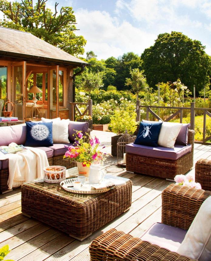 meubles de patio en osier