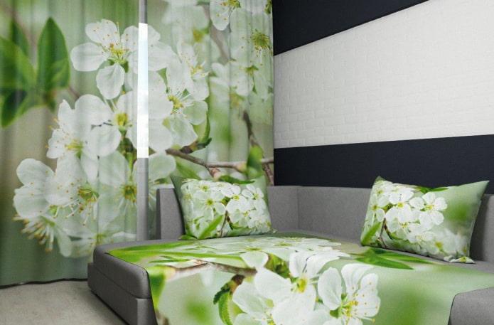 rideaux photo avec l'image d'un pommier en fleurs