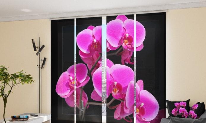 rideaux japonais avec orchidée