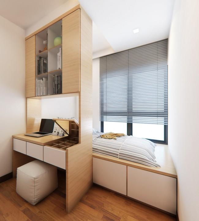 Placement compact d'un petit lit et d'un espace de travail