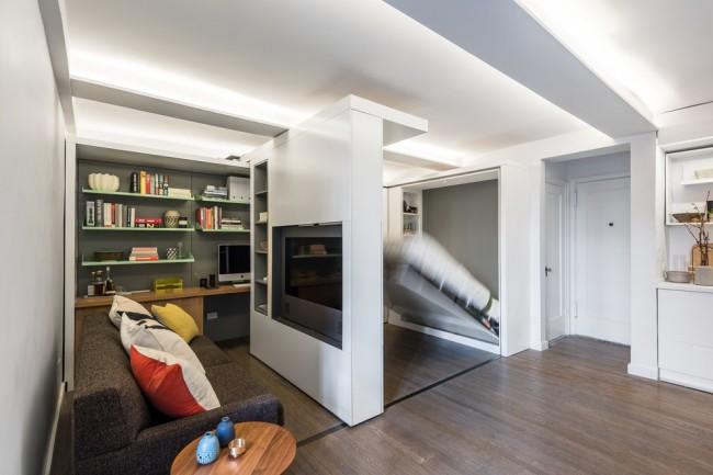 Les murs coulissants comme idée d'organisation de l'espace.  Création d'un coin nuit
