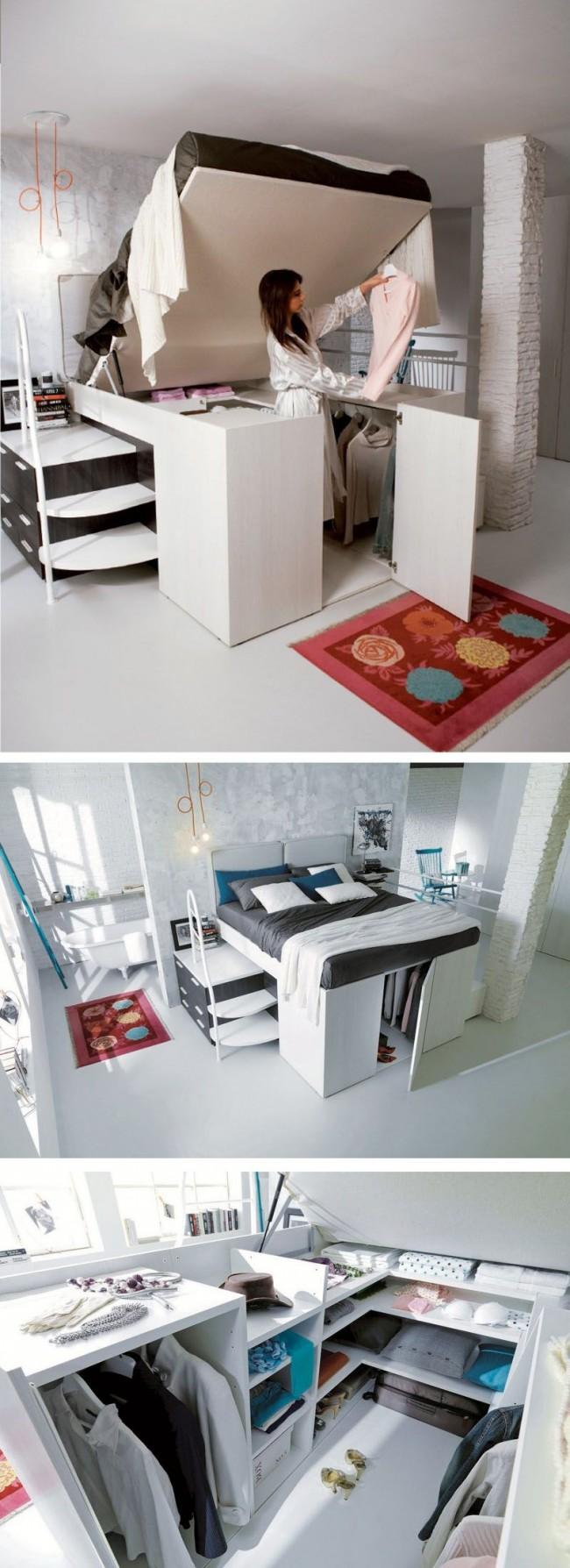 Le dressing sous le lit est une bonne solution pour un petit appartement