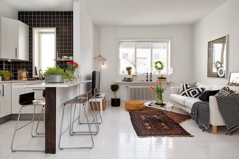 Intérieur d'un studio dans le style scandinave